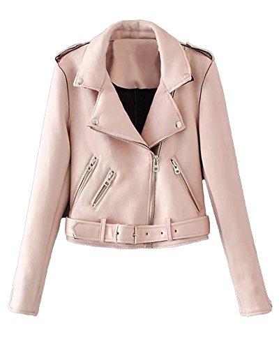 ShallGood Damen Jacke Übergangsjacke Steppjacke Parka Winddicht Herbst Oblique Zipper Wildlederjacke Mit Gürtel Elegant Coat Mantel Rosa DE 36
