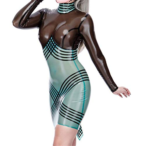 HTABY Damen Latex High Neck Stitching Farbe Kleid Langarm Hohe Stretch Enganliegende Hip Bar-Kleid Catsuit Latex-Kleid Nachtclub Stage Show Bar Cosplay Kostüme,Schwarz,XXL