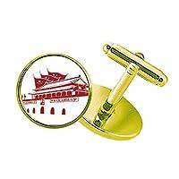 中国の赤い旗天安門エンブレム スタッズビジネスシャツメタルカフリンクスゴールド