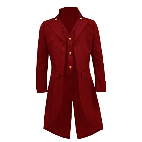 COSSKY Boys Gothic Tailcoat Jacket Steampunk Long Coat Halloween Costume (Red, 4)