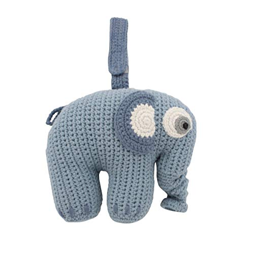 Sebra Häkel-Spieluhr, Fanto der Elephant, Powder Blue [A]