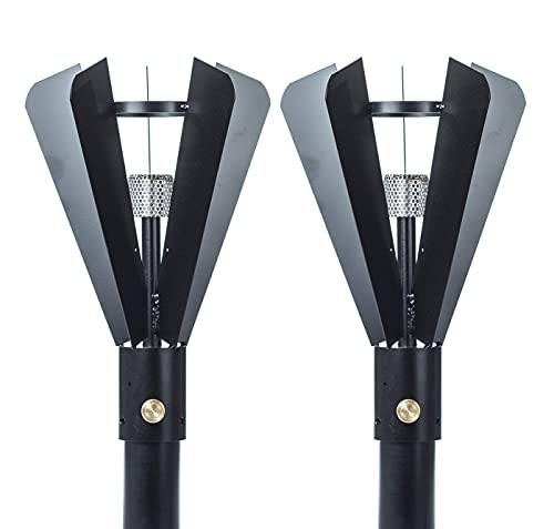 """Big Kahuna Gas Tiki Style Torch - Exotic Propane or Natural Gas Lamp Includes a 82"""" Black Steel Pole for Easy Set Up - Permanent Outdoor Lights are Great for Landscape Lighting, Set of 2 (Fin Style)"""