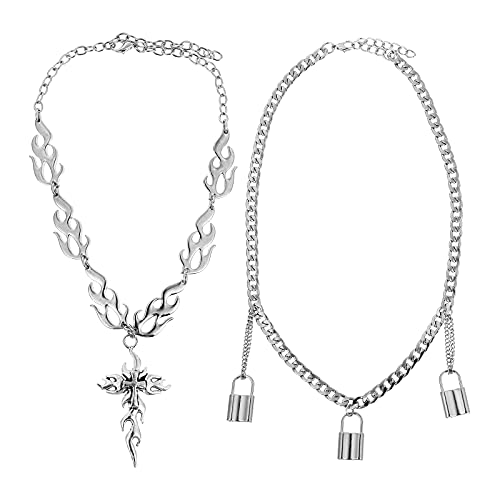 ABOOFAN Decorar 2pcs Collar Decorativo Estilo Punk Collar de Halloween Cadenas de clavícula (Plata)
