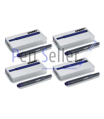 Lamy T10: Vier Päckchen mit 5 Tintenpatronen, Farbe: blau-schwarz (insgesamt 20 Tintenpatronen)