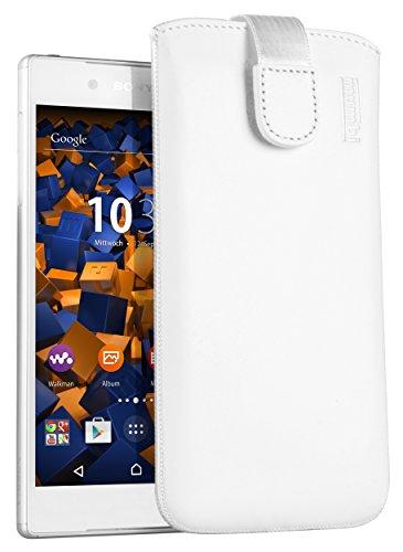 mumbi Echt Ledertasche kompatibel mit Sony Xperia Z5 Hülle Leder Tasche Case Wallet, weiss