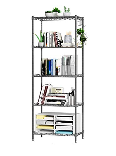 FGSS 5-Tier Shelving-Storage-Unit Metal Organizer-Wire-Rack with Side Hooks for Bathroom/Kitchen/Office Laundry (Silver,22' x 12' x 35')