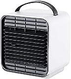 Ventilador de aire acondicionado portátil, refrigerador de aire de espacio personal, humidificador, purificador de aire, 3 en 1 refrigerador evaporativo, ventilador de escritorio de mini refrigeración