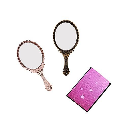 AODOOR 3 espejos ovalados para maquillaje, espejo de maquillaje vintage, espejo ovalado, espejo de mano, espejo de maquillaje, espejo plegable para viajes, oficina (oro rosa, bronce)
