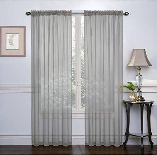 Ruthy's Textile 2 Pack Sheer Voile Window Treatment Rod Pocket Curtain Panels for Bedroom and Living Room 104 x 84 inches Long - Color: Grey