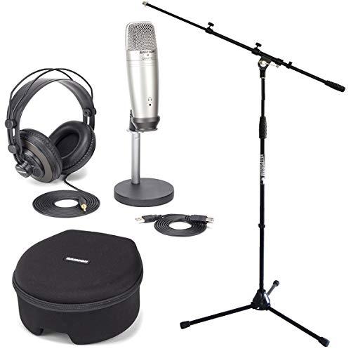 Keepdrum MS107B Samson C01U Pro Podcast Set con microfono a condensatore USB