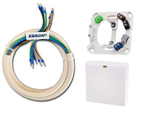 EBROM Herdanschlusskabel H05VV-F 5x2,5 mm² WEIß, inkl Herdanschlussdose 1,5 Meter Kabel - komplett fertig konfektioniert, gecrimpt mit Aderendhülsen blau - 3 N PE - (5G2,5 1,5m) - Herdanschlussleitung