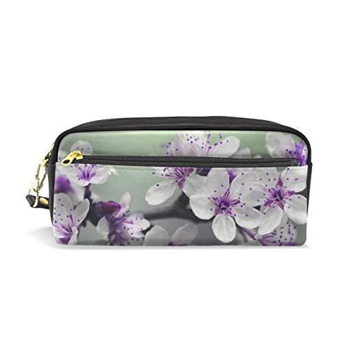 Blossom Leder Student Pencil Case Pen Kosmetiktasche für Mädchen Make-up-Tasche