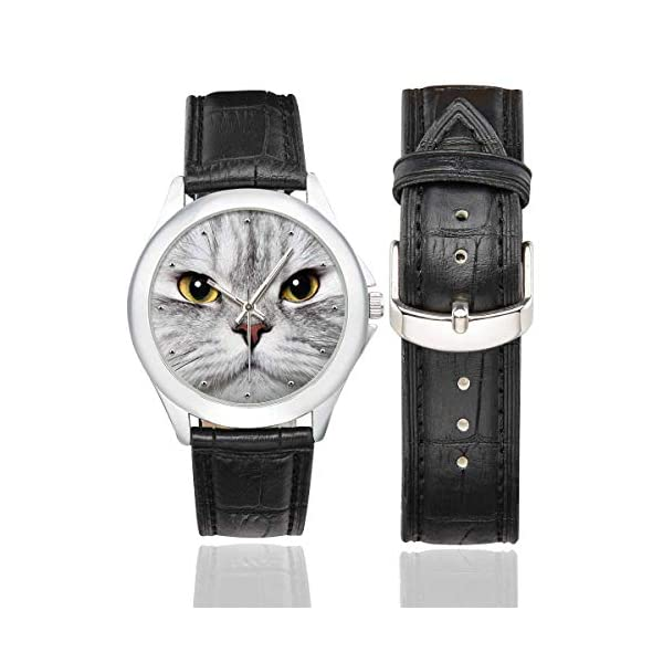InterestPrint Funny Cat Waterproof Women's Stainless Steel Classic Leather Strap Watches, Black
