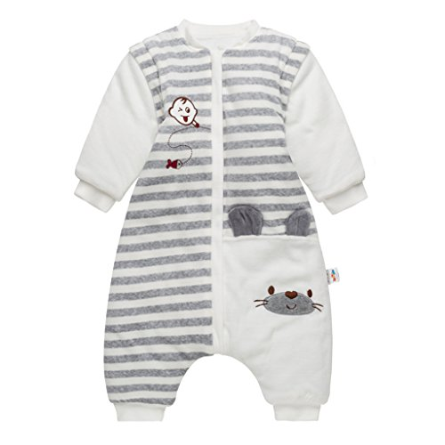 Bambino Sacco Nanna con piedini, neonati inverno sacco a pelo con gambe separate e maniche smontabili, 24-36 Mesi