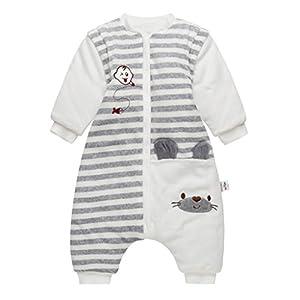 Saco de dormir para bebé con pies, bebé bolsa de dormir mangas extraíbles y Piernas separadas invierno saco antideslizante para dormir 100% algodón orgánico, 24-36 Meses
