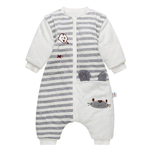 *Baby Schlafsack mit Beinen und abnehmbaren Ärmeln Kleinkind Strampler Schlafanzug Baumwolle Winter Babyschlafsack, 24-36 Monate*