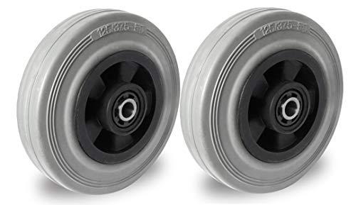 2er Set Rad 125 mm Gummi grau-spurlos Rollenlager mit Achszubehör M10