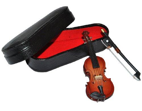 alles-meine.de GmbH 3 TLG. Set Violine mit Kasten + Bogen - Holz Miniatur Maßstab 1:12 - Geige Puppenhaus - Musikinstrument Musik Instrument Streichinstrument
