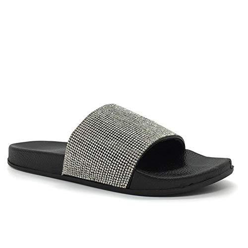 FUNKYMONKEY Women's Slides Rhinestone Glitter Slip On Footbed Platform Sandals (8 M US, Black)