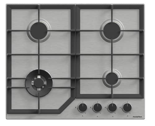 PremierTech Piano Cottura a Gas da 60cm 4 fuochi con Wok in Acciaio Inox Griglie in Ghisa comandi...
