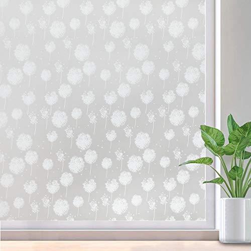 Lifetree Fensterfolie Sichtschutzfolie Dekofolie Selbsthaftend Blickdicht Fensterdekoration Ohne Kleber Pusteblume 44.5x200cm