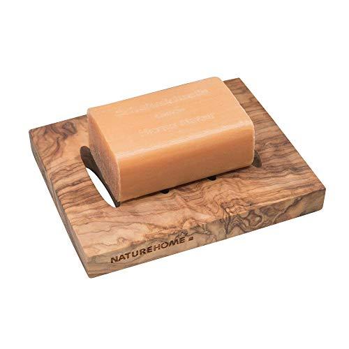 NATUREHOME Olivenholz Seifenschale Reine Bio Holz Schale eckig - 12x10x1,5 cm Aufbewahrung für Seife Seifenhalter im Badezimmer