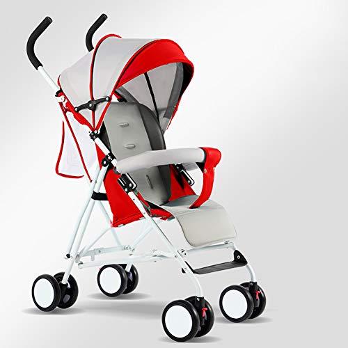 JHSHENGSHI Buggys Knderwagen für Kinder,Reise buggys Standardkinderwagen Alter 0-3 Jahre mit Baumwolle Pad, Wasserbecherhalter, faltbar, drehbare Vorderräder, red