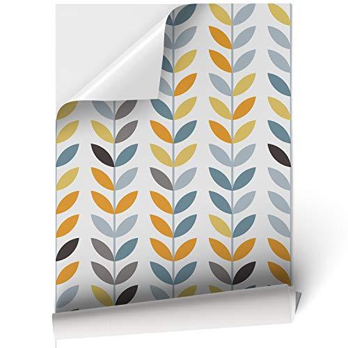 Papel Adhesivo de Vinilo para Muebles y Pared - 45x200cm - Hojas de Colores, Fondo Blanco - Vinilo Resistente, Impermeable y Removible, 45x200cm, VNL-005