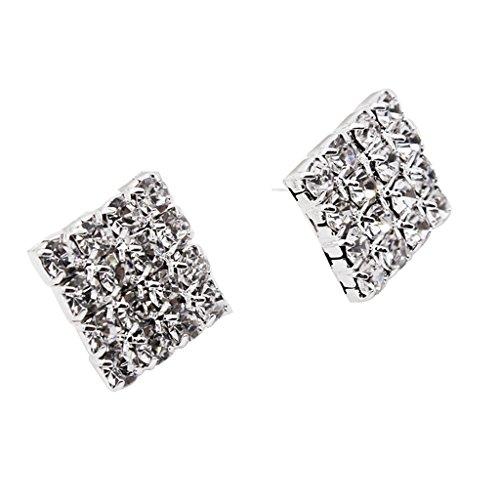 Mujeres Hombres Plata Pendientes de Diamantes de Imitación de Cristal, Geométrico Cuadrado Ear Stud, Aretes de Plata de Moda