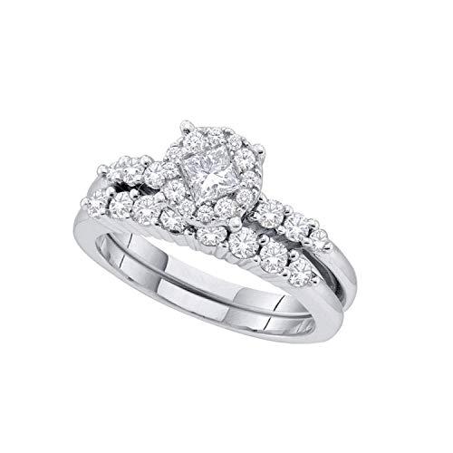 Dazzlingrock Collection Anillo de boda de 1,01 quilates (quilates) con diamante redondo de princesa soleil juego de 1 quilate, oro blanco de 14 quilates, talla 4,5