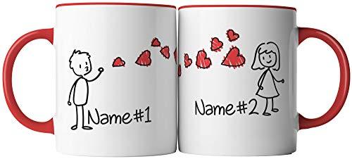 vanVerden Tassen 2er Set - Er & Sie Ich liebe dich Pärchen Herz Kuss - inkl. 2x Wunschname anpassbar personalisiert Geschenk Kaffeetassen, Tassenfarbe:Weiß/Rot