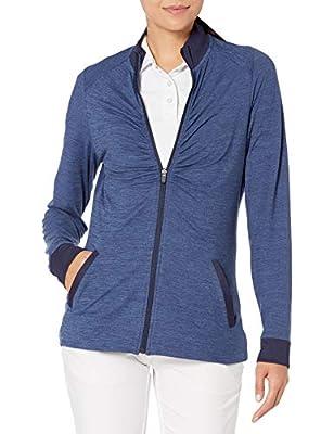 PGA TOUR Women's Long Sleeve Jacket, Peacoat Fjord Heather, Medium