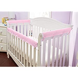 Everyday Kids Padded Baby Crib Rail Cover Set- Crib Rail Teething Guard – 3-Piece Front and Side Padded Rail Cover- with Sewn Ties for Secure Fit – Pink Soft Microfiber Polyester …