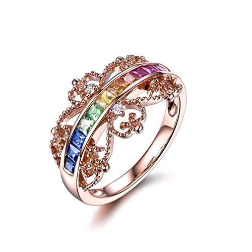 Ubestlove 18K Gold Ring For Women Gifts For Teenage Girls Jewellery Diamond Accented Ring 1.24Ct I 1/2