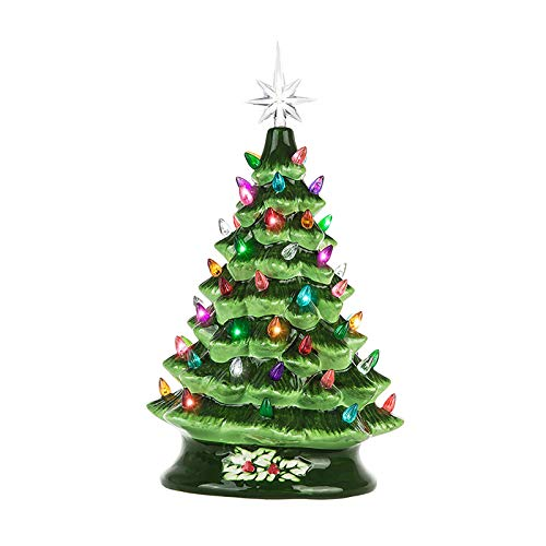 15x7.9'' Desktop Luminous Ceramic Christmas Tree Decor Party Christmas Tree with Multi-Color Light Bulbs, Christmas Decorations for Dining Table, Beautiful Bedroom or Living Room Decoration (Green)