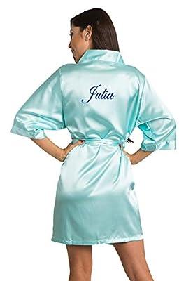 Zynotti Women's Personalized Embroidered Name Custom Title Satin Robe - Bridal & Bridesmaid Wedding Kimono Robe