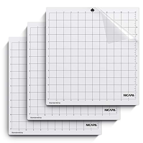 Nicapa StandardGrip Cutting Mat for Silhouette Cameo 4/3/2/1 (12x12 inch,3 Mats) Standard Adhesive Sticky Quilting Cricket Cut Mats Replacement Accessories for Silhouette Cameo