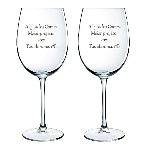 Regalo para Profesores Personalizable: Copas de Vino grabadas con Texto (Copas de...
