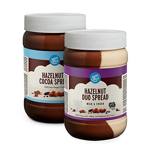 Marca Amazon - Happy Belly - Surtido de cremas para untar (Duo de leche, cacao y avellanas, Cacao y avellanas), 2 x 800g
