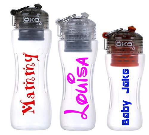 Personalisierbare Namensaufkleber, Wasser-/ Trinkflasche, Namensschild, Aufkleber für Vinyl-Trinkflasche, Namensschilder, 2 Stück