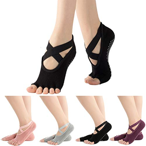 Pengxiaomei 4 Pairs Non Slip Pilates Socks,Yoga Socks for Women, Women's Yoga Socks with Toes, Clasped Pilates Socks for Ballet Pilates Barre Dance