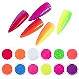 DSHIJIE 12Pcs Neón Color fluorescente Pigmento de uñas en polvo Pigmento Fluorescente Brillo de uñas decoracion uñas pigmentos para uñas diseños para uñas pigmentos uñas