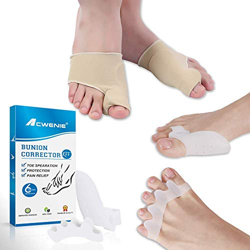 Orthopedic Bunion Corrector and Bunion Relief - Bunion Pads Hammer Toe Straightener Toe Spacers Big Toe Separators for Women & Men with Integrated Gel Toe Wrapper Day Night Support - 3 Pairs