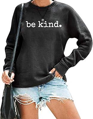 Be Kind Shirt Women Funny Graphic T-shirt Long Sleeve Sweatshirt Cute Pullover Lightweight Fall Tops Dark Gray