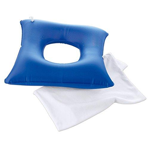 Druckentlastungskissen, Sitzring aufblasbar, medizinisches Sitzkissen Stuhlkissen, Kissen mit Bezug, 45x45 cm