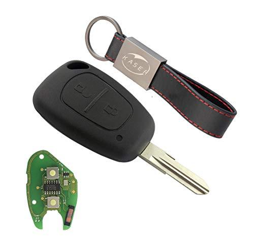 Chiave Telecomando con Scheda Elettronica 2 Tasti per Renault Megane 2 Scenic Clio Kangoo Dacia Duster (433Mhz PCF7946 ID46 Chip) Transponder con Portachiavi KASER