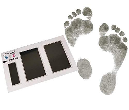 Set für Fußabdruck | schwarz | für Neugeborene & Babys bis 3 Monate auf jedem Papier | Magic Footprint Standard (Papierfarbe: Weiß, bis zu 8 Abdrücke)