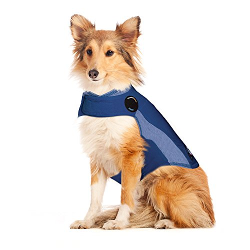 ThunderShirt Polo Dog Anxiety Jacket | Vet Recommended Calming Solution Vest for Fireworks, Thunder, Travel, & Separation | Blue, Large