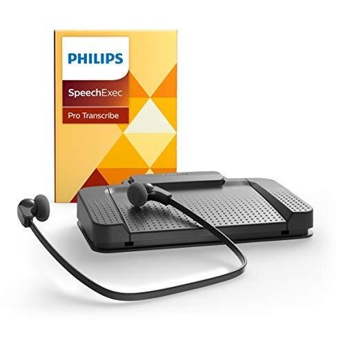 Philips LFH7277/08 Wiedergabe-Set, ergonomischer USB-Fußschalter ACC2330, Stereo-Unterkinn-Kopfhörer LFH0334, inklusiv Diktier- und Wiedergabe-Software SpeechExec Pro 2-Jahres-Abo