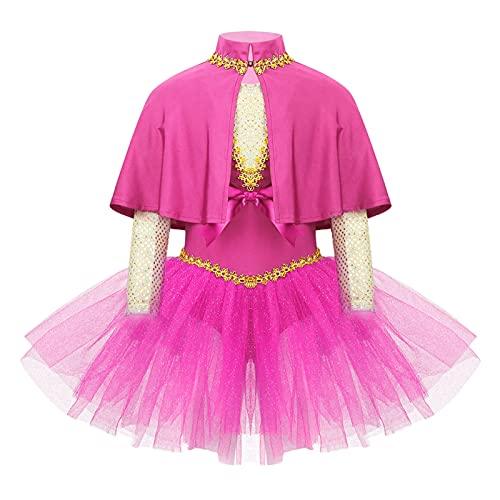 IEFIEL Niñas Vestido de Danza Ballet para Fiesta Navidad Halloween Carnaval Vestido de Patinaje Artistico Disfraz de Bailarina +Capas+Mangas Fucsia 2 años